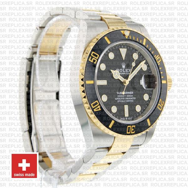 Rolex Submariner 2 Tone Black Dial 18K Yellow Gold Black Ceramic Bezel