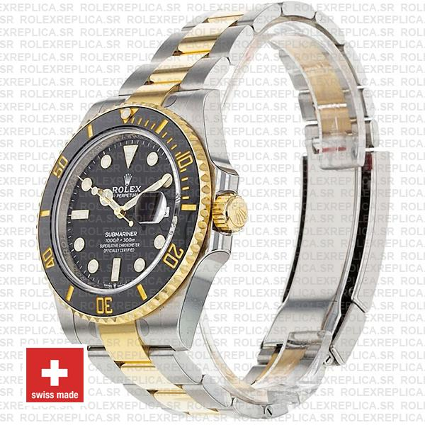 Rolex Submariner 2 Tone Black Dial 18K Yellow Gold Black Ceramic Bezel Oyster Bracelet