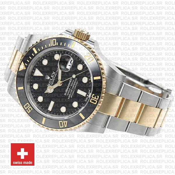 Rolex Submariner 2 Tone Black Dial 41mm Rolex Replica Watch