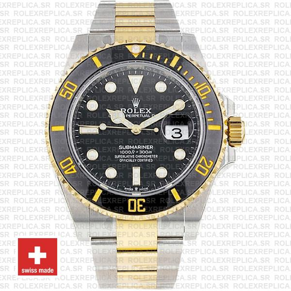 Rolex Oyster Perpetual Submariner 2 Tone 904L Steel Black Dial Watch