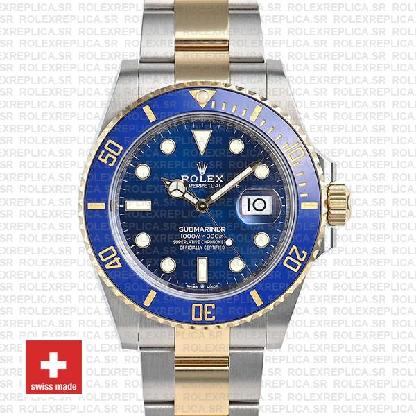 Rolex Submariner 2 Tone 18K Yellow Gold Wrap Blue 41mm Dial
