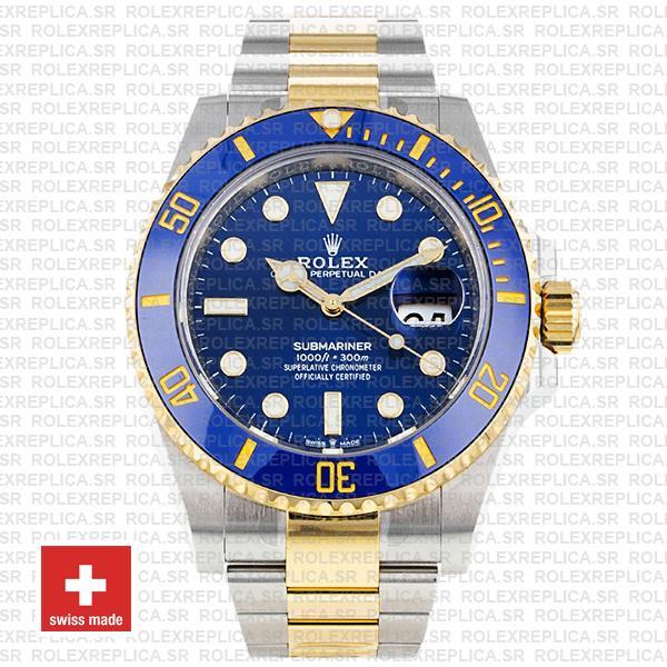 Rolex Submariner 41mm 2 Tone 904L Stainless Steel Blue Dial Blue Ceramic Bezel