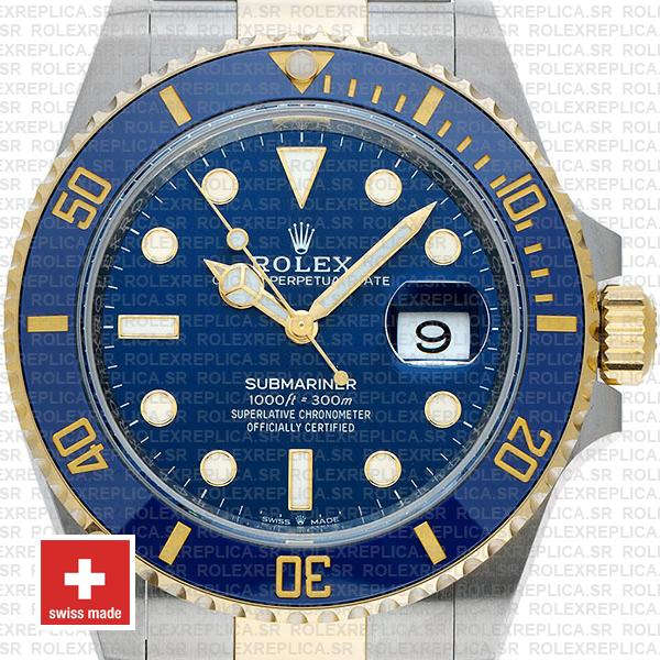 Rolex Submariner 2 Tone 18K Yellow Gold Wrap Blue Dial