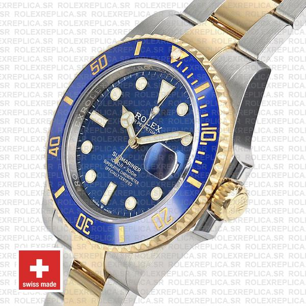 Rolex Submariner 2 Tone 18K Yellow Gold Wrap Blue Dial Watch