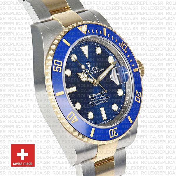 Rolex Submariner 2 Tone 18K Yellow Gold Wrap Blue Dial Replica Watch