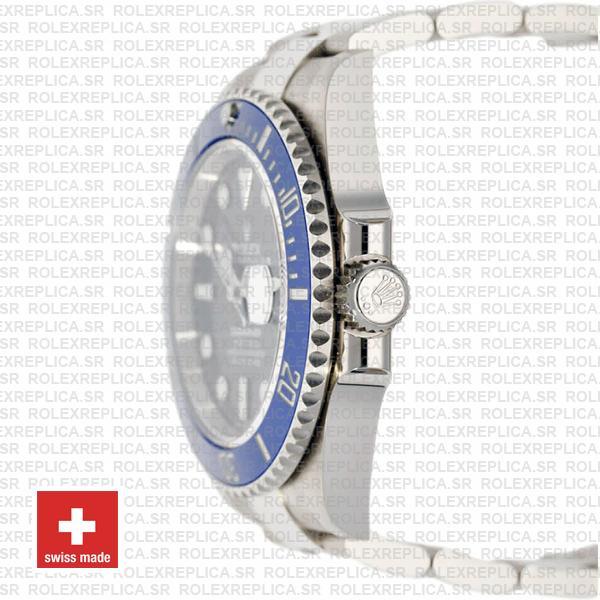 Rolex Submariner 18k White Gold Wrap Black Dial Blue Ceramic Bezel
