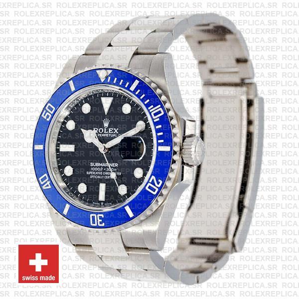 Rolex Submariner 41mm 904l Steel 18k White Gold Wrap Black Dial Blue Ceramic Bezel 126619lb Swiss Replica Watch