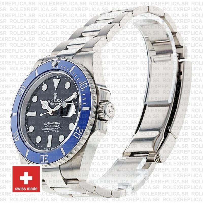 Rolex Submariner 18K White Gold Wrap 41mm 904L Steel Black Dial Watch