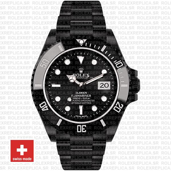 Rolex Submariner Blaken Black Dial Dlc Black Ceramic Bezel