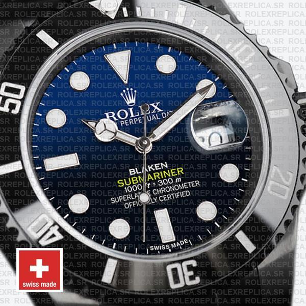 Rolex Submariner Blaken D-Blue Dial Rolex Replica Watch