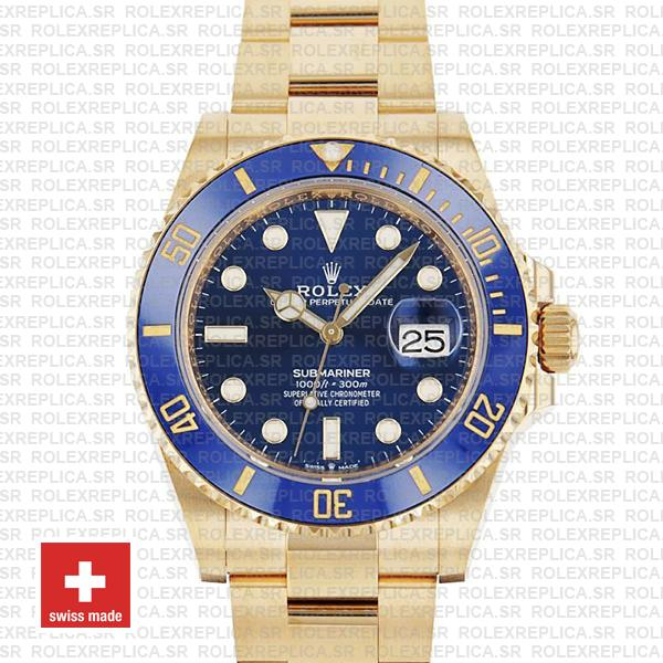 Rolex Submariner 41mm 18k Yellow Gold Wrap 904l Steel Blue Dial Blue Ceramic Bezel 126618lb Swiss Replica Watch