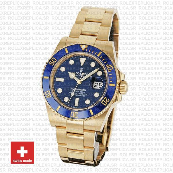 Rolex Submariner Gold Blue Ceramic Bezel Replica