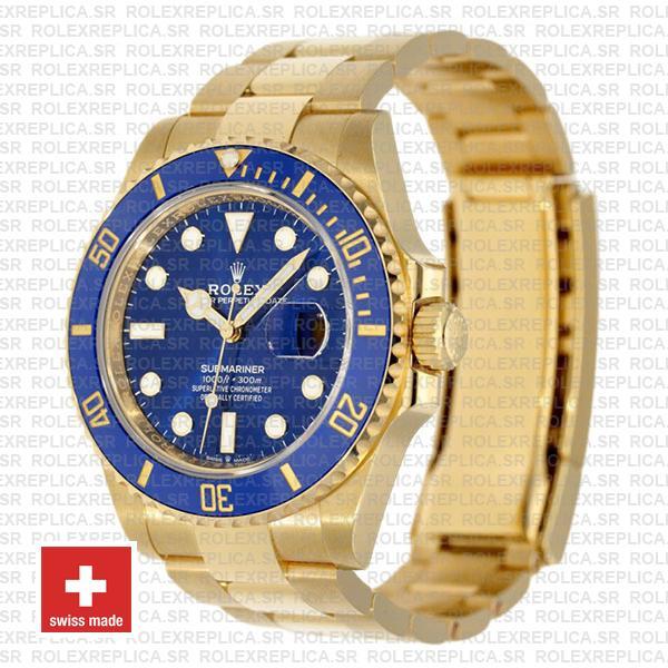 Rolex Submariner Gold Blue Ceramic Bezel Rolex Replica Watch