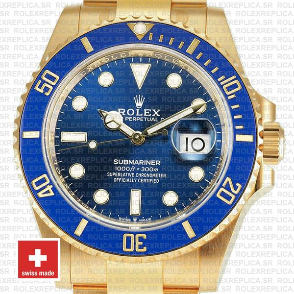 Oyster Perpetual Rolex Submariner 18k Yellow Gold Blue Ceramic Bezel