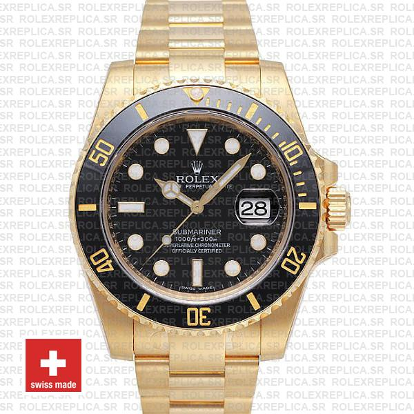 Rolex Submariner Black Dial 18k Yellow Gold Replica Watch