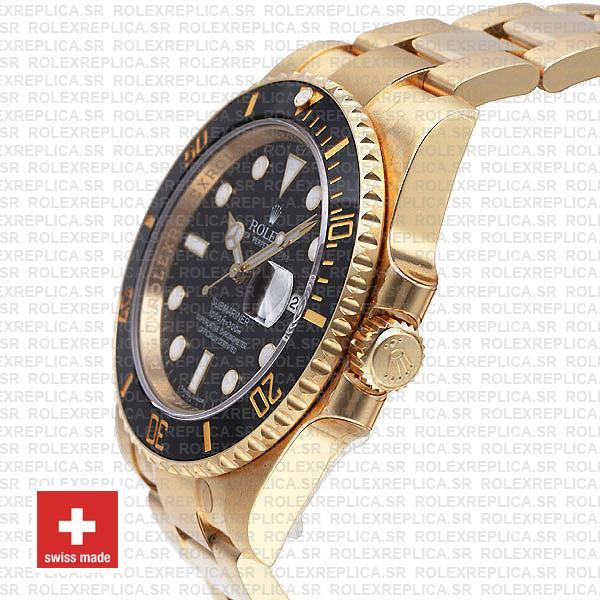 Rolex Submariner Black Dial 18k Yellow Gold Swiss Replica Watch