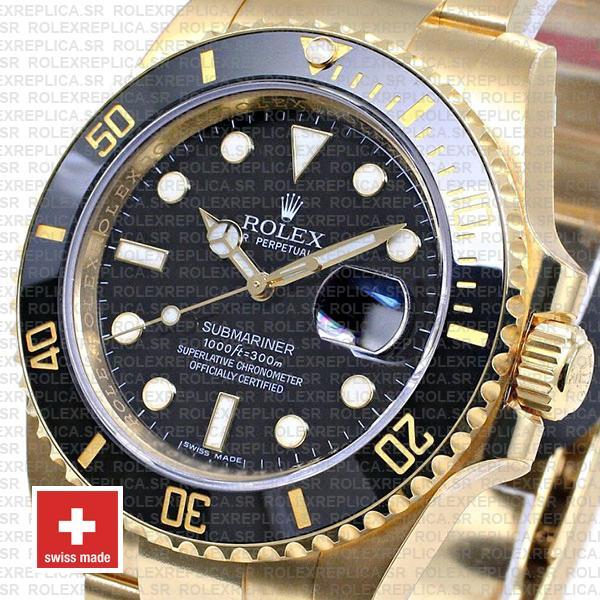 Rolex Submariner Black Dial 18k Yellow Gold Watch