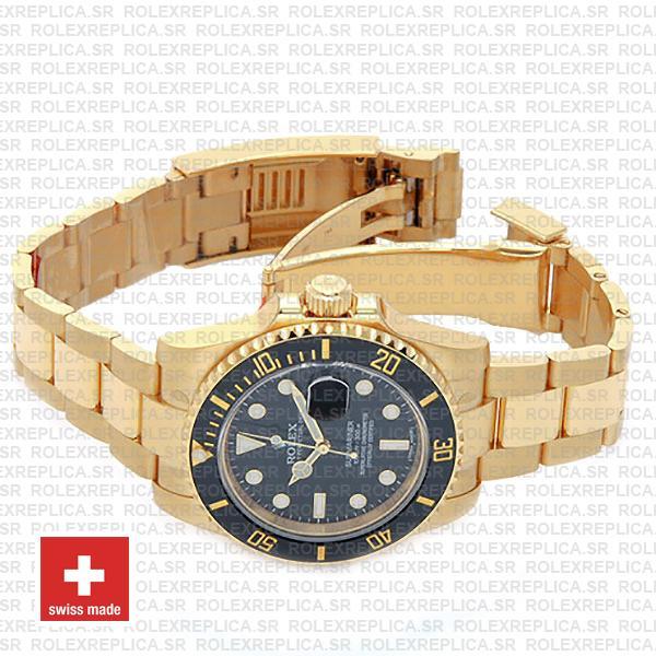 Rolex Submariner 18k Yellow Gold Date Watch