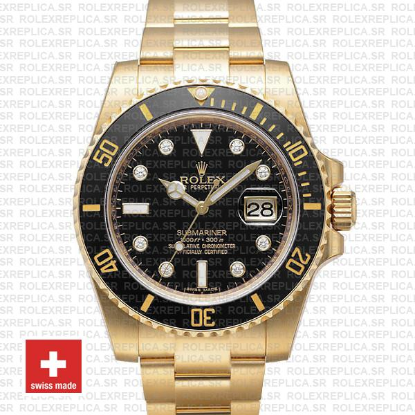Rolex Submariner Gold Black Diamonds Ceramic 40mm 116618