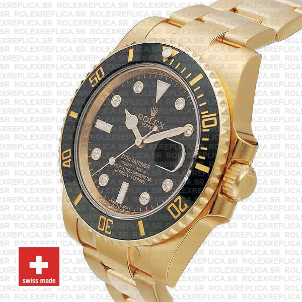 Rolex Submariner in 18k Yellow Gold Diamonds with Black Dial 904L Steel Oyster Perpetual Replica Watch
