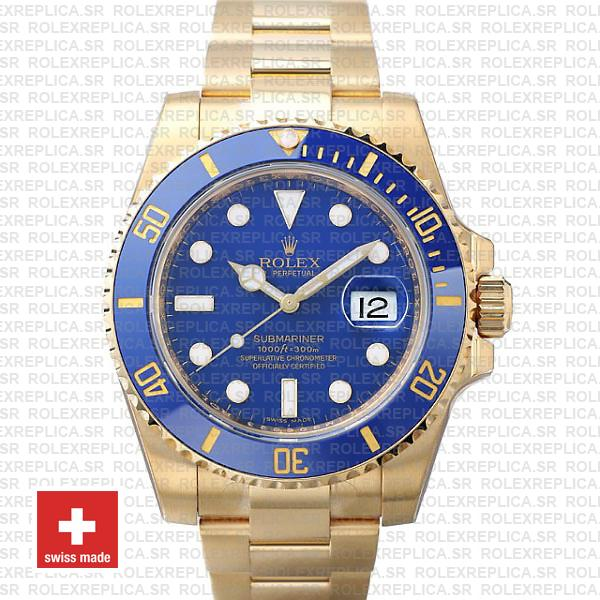Rolex Submariner 18k Gold Blue Dial | Rolex Replica Watch