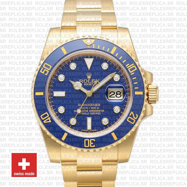 Rolex Submariner Gold Blue Diamonds Ceramic 40mm 116618