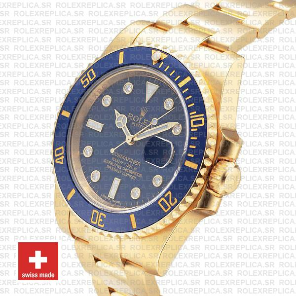 Rolex Submariner 18k Yellow Gold Wrap Blue Ceramic Bezel 40mm Watch with Diamond Markers 904L Steel