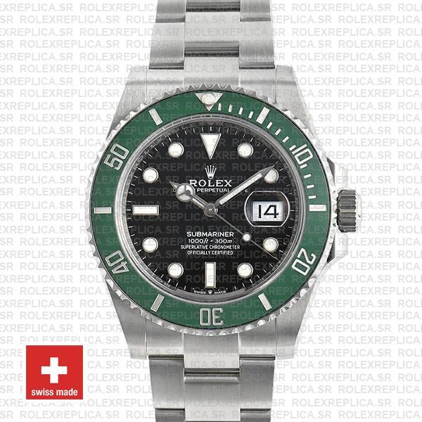 Rolex Submariner Green Ceramic Bezel Black Dial 41mm Watch