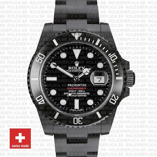 Rolex Submariner Prohunter Dlc Date Black Dial Ceramic Bezel 40mm Oversized 116610 Swiss Replica