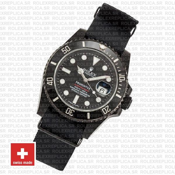 Pro-Hunter Rolex Submariner NATO Strap DLC 904L Steel with Black Ceramic Bezel
