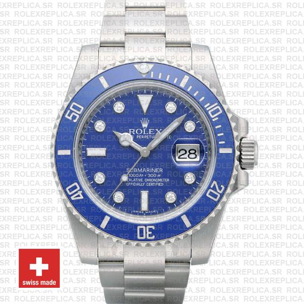 Rolex Submariner Stainless Steel Blue Diamond Dial Replica