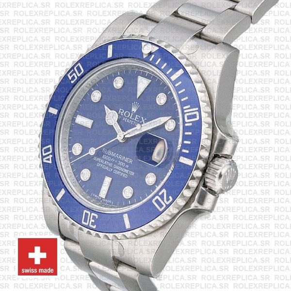 Rolex Submariner Stainless Steel Blue Diamond Dial Replica Watch