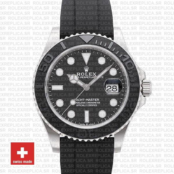 Rolex Yacht-Master Black Dial White Gold Rubber Strap Watch