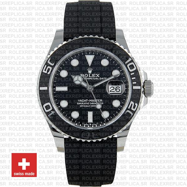 Rolex Yacht-Master Black Dial White Gold Rubber Strap Swiss Replica Watch
