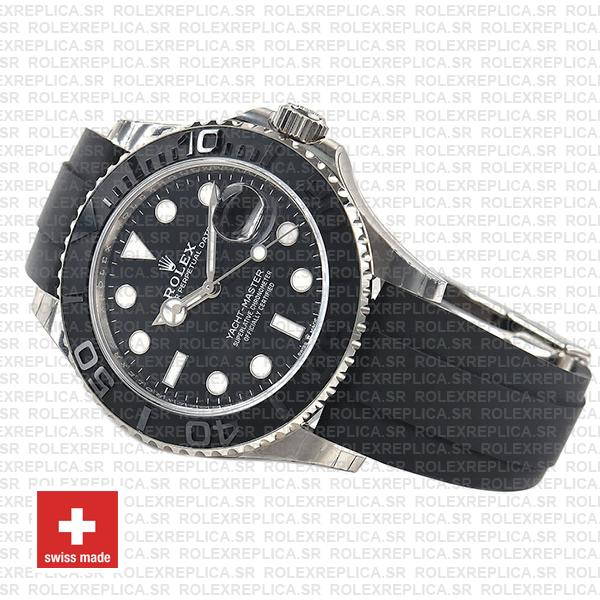 Rolex Yacht-Master 904L Stainless Steel 18k White Gold Black Ceramic Bezel with Black Dial 42mm