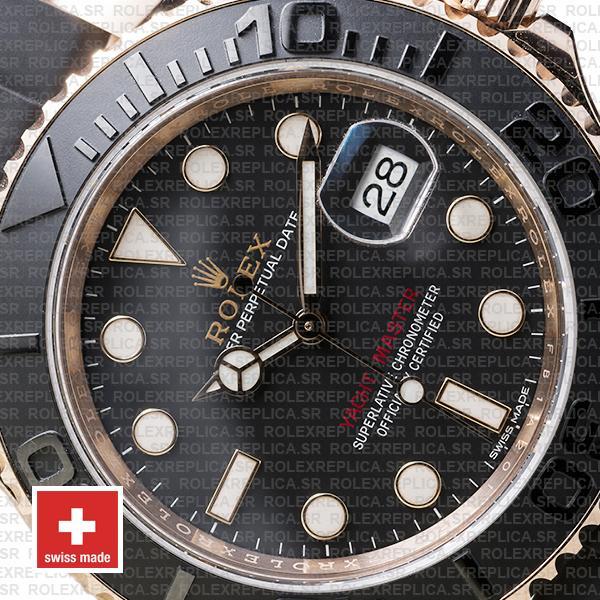 Rolex Yacht-Master Stainless Steel 18k Rose Gold Black Ceramic Bezel 40mm Rubber Strap Watch