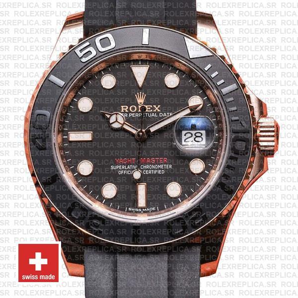 Rolex Yacht-Master Rose Gold Black Dial Rolex Replica Watch
