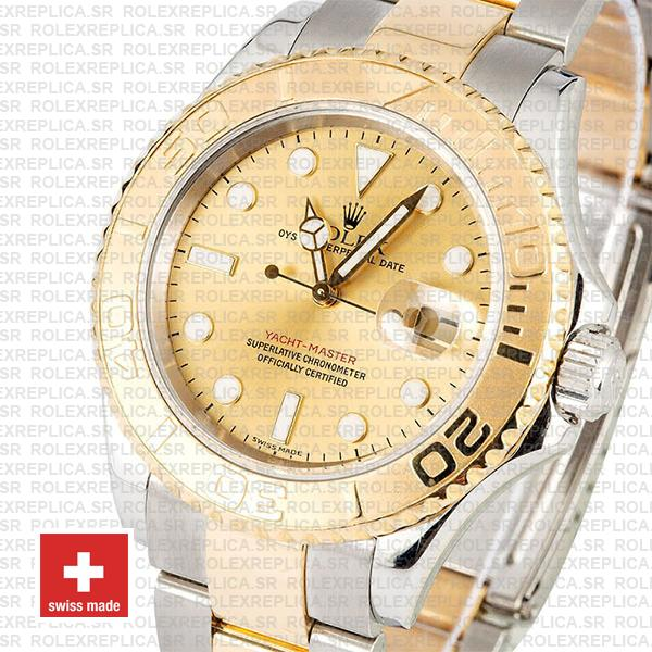 Rolex Yacht-Master 40mm Two-Tone 18k Yellow Gold 904L Steel Gold Dial Replica Waterproof Watch