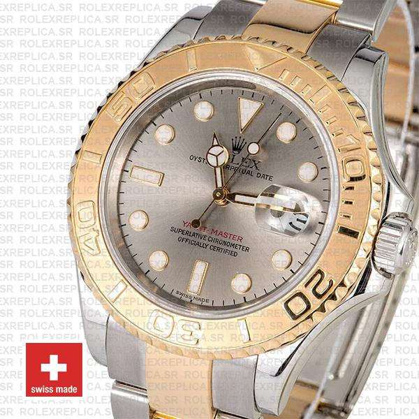 Rolex Yacht-Master 18k Yellow Gold Two-Tone 904L Steel Bracelet with Slate Grey Dial Luminous Markers 40mm