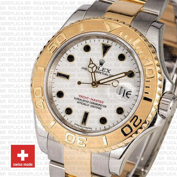 Rolex Yacht-Master Yellow Gold Two-Tone White Dial Swiss Replica Watch