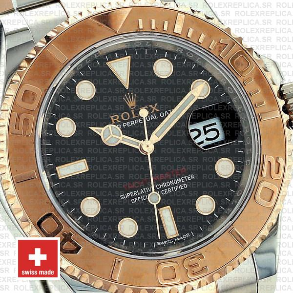 Rolex Yacht-Master 18k Rose Gold Two-Tone, Stainless Steel Black Dial 40mm Oyster Bracelet