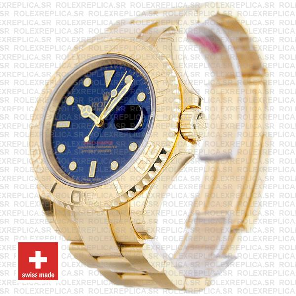 Rolex Yacht-Master 904L Stainless Steel 18k Yellow Gold Blue Dial Rolex Replica Watch with Oyster Bracelet