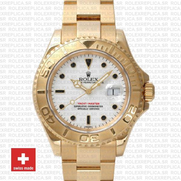 Rolex Yacht,Master 40mm 18k Yellow Gold 904L Steel White Dial Swiss Replica  Watch
