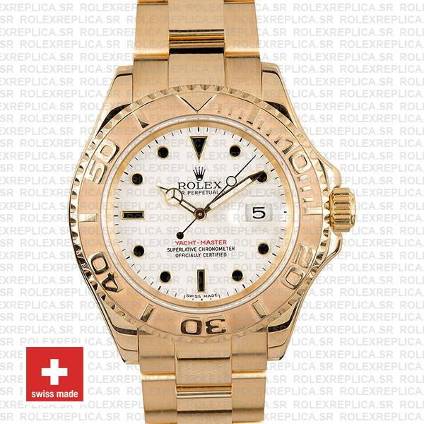 Rolex Yacht-Master 40mm 18k Yellow Gold White Dial Replica Watch