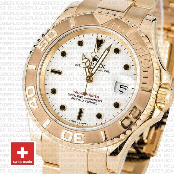Rolex Oyster Perpetual Date Yacht-Master 18k Yellow Gold, White Dial 40mm