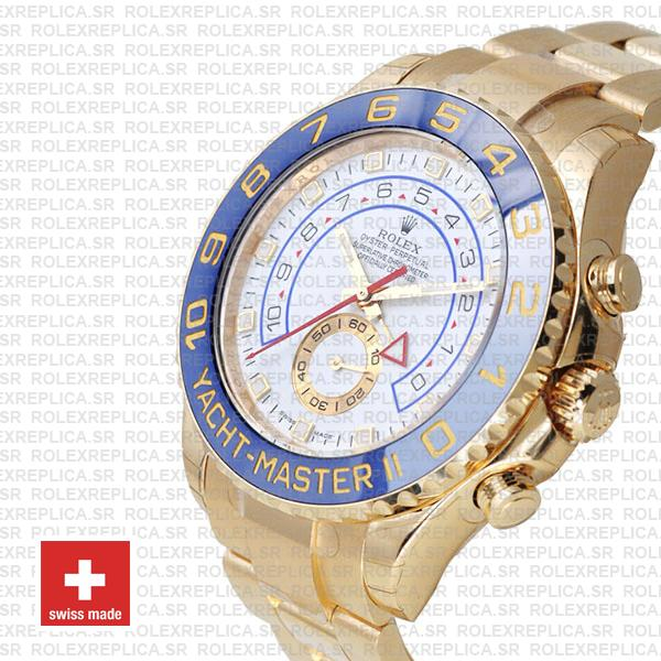 Rolex Yacht-Master II Yellow Gold White Dial Replica Watch