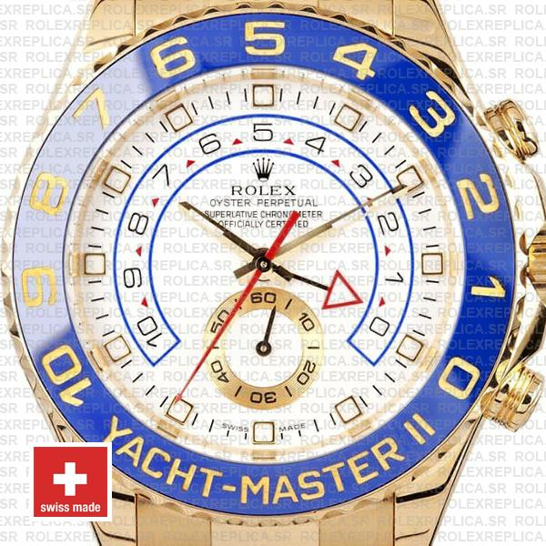 Rolex Yacht-Master II Yellow Gold White Dial Rolex Replica Watch