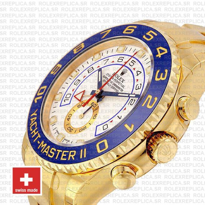 Rolex Yacht Master Ii 18k Yellow Gold White Dial Blue Ceramic Bezel 116688 44mm