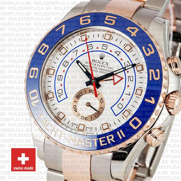 Rolex Yacht-Master II 18k Rose Gold Two-Tone White Dial 44mm with Blue Ceramic Bezel & Steel Oyster Bracelet