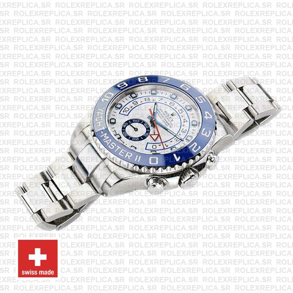 Rolex Oyster Perpetual Yacht-Master II 904L Stainless Steel White Dial 44mm with Blue Ceramic Bezel Replica Watch